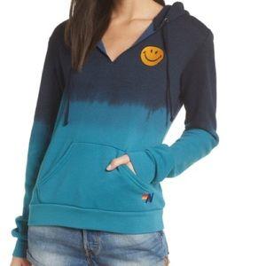 🌟aviator nation smiley Teal hoodie sweatshirt XS